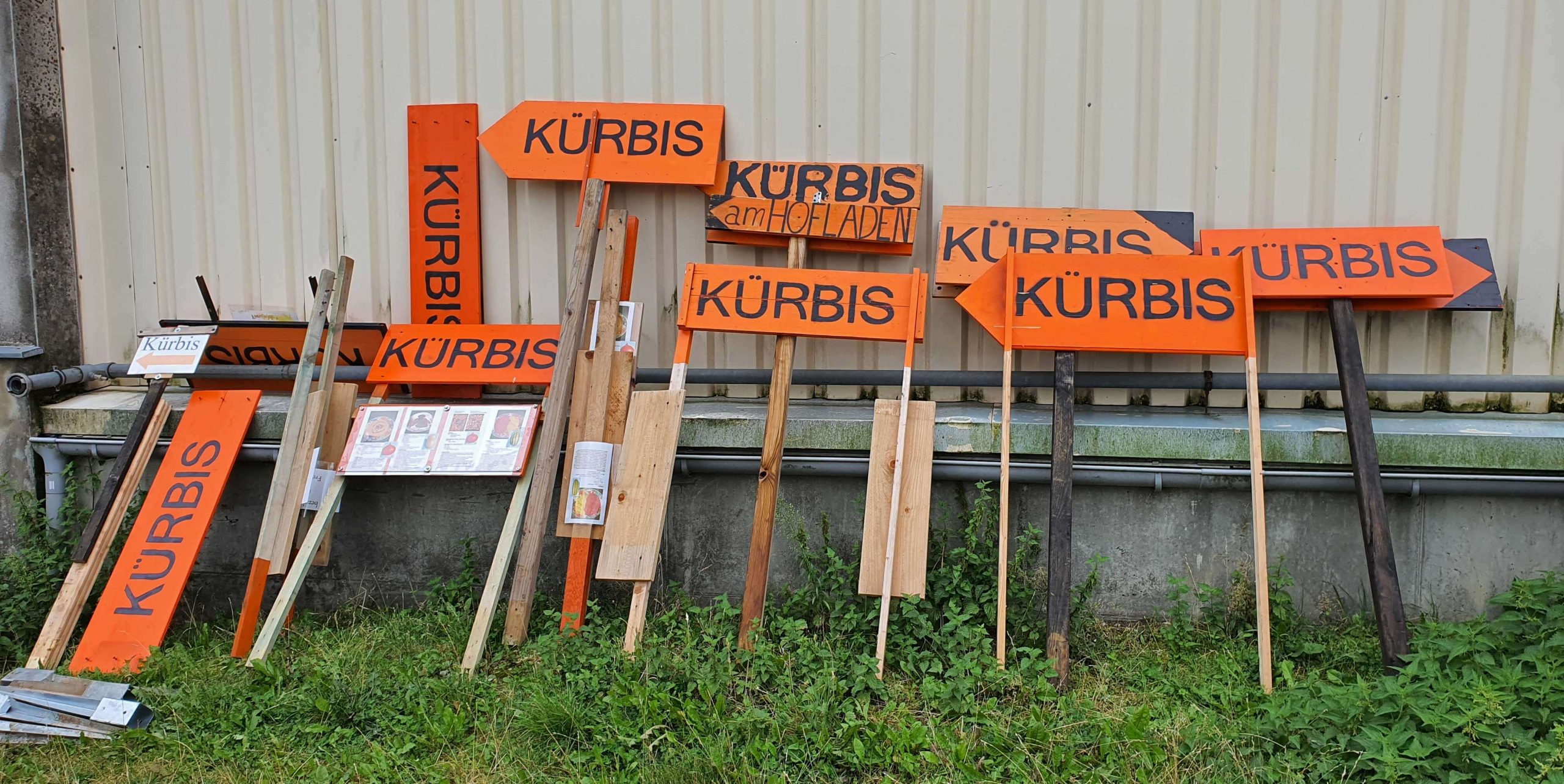 Die Schilder weisen den Weg zum Kürbis, Foto: Maike Steuer